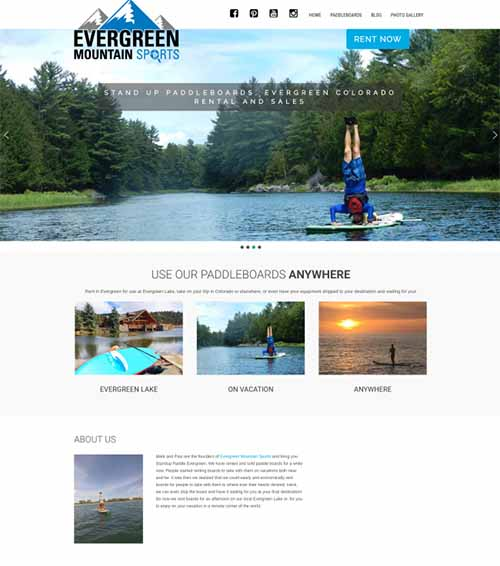 Evergreen Mountain Sports website