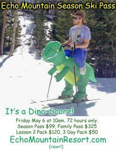 Promotional meme - dinosaur skier