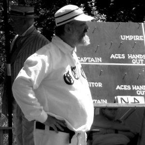 Brett in old-time baseball uniform