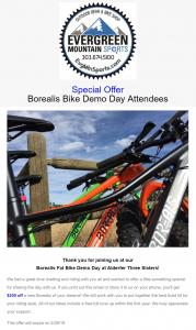 Sporting goods social media - bike sales