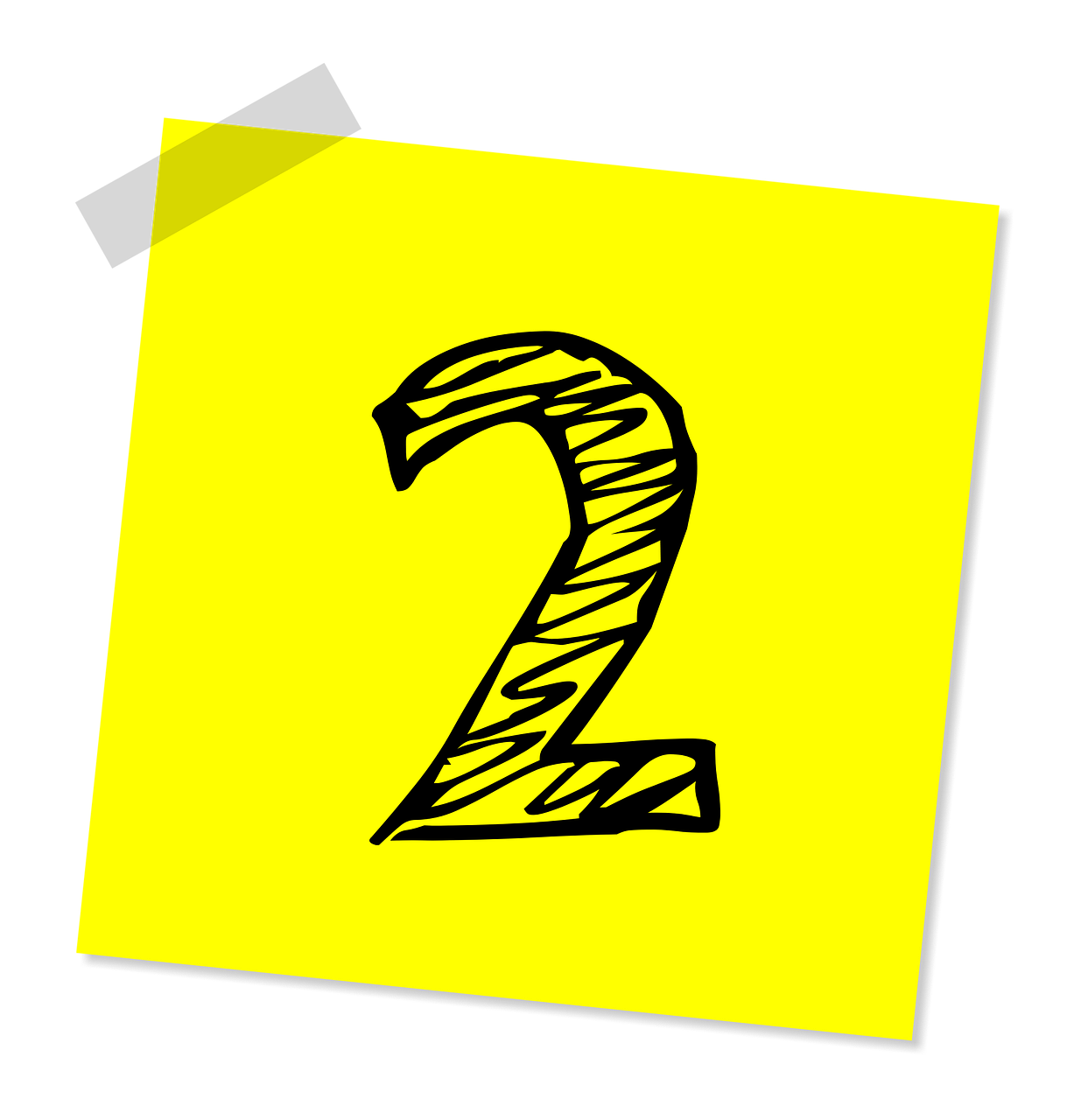 number 2 on a yellow sticky