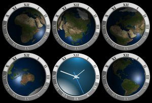 6 clocks with the earth as their face