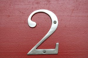 number 2 on a red door