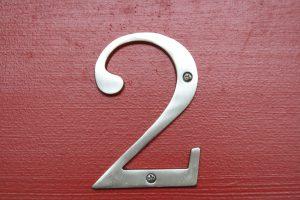 number 2 on a red door