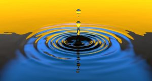 Water drop with ripples expanding
