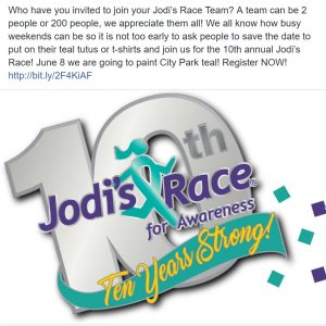 Jodi's Race of Awareness, Social Media post