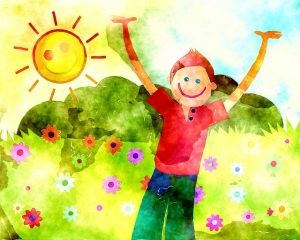 Watercolor, smiling child in the sunshine