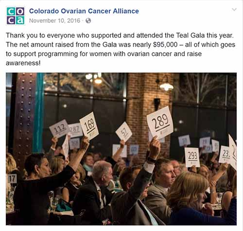 Colorado Ovarian Cancer Alliance Social Media post