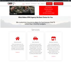 RPM Agency Insurance website screenshot