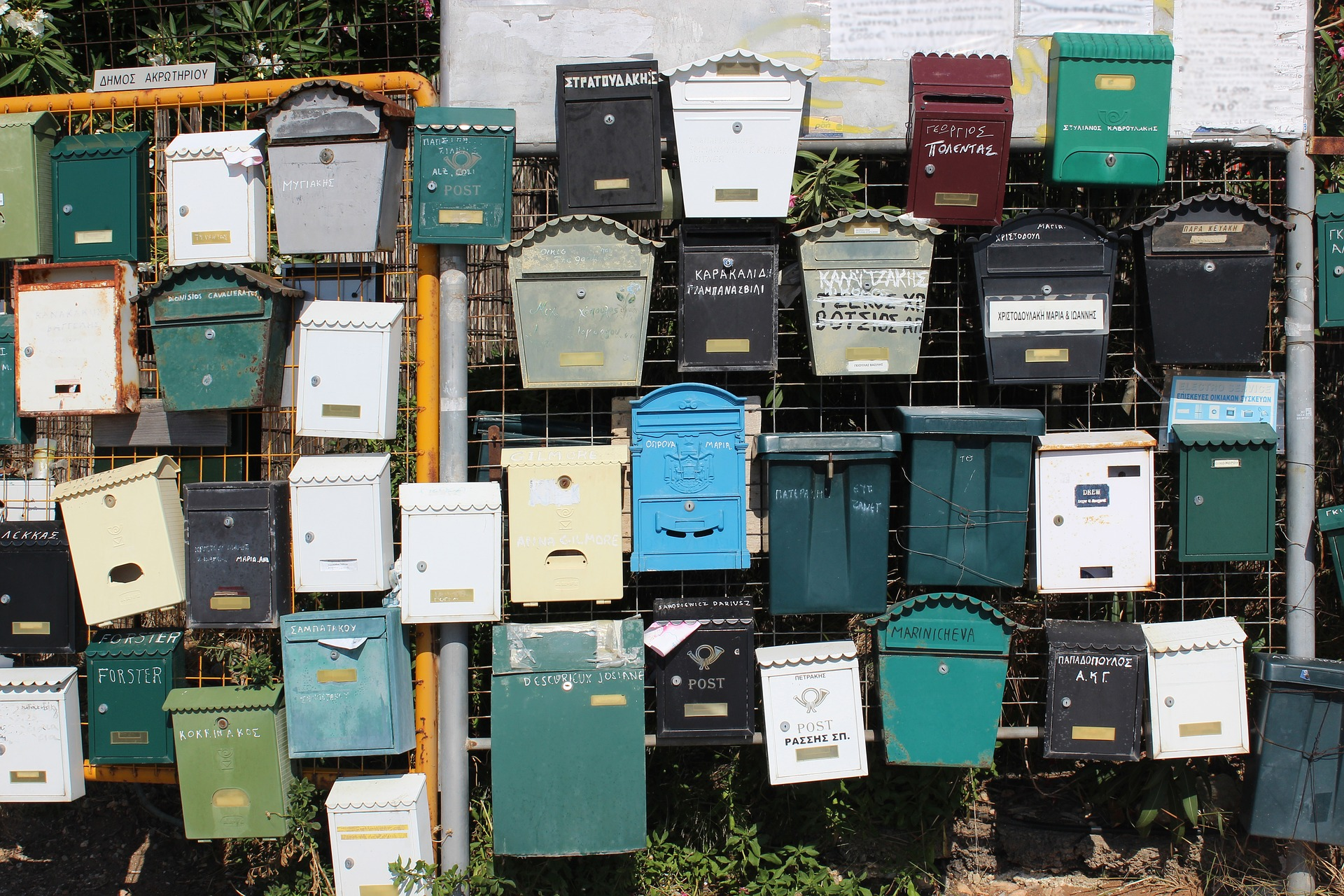 collection of mailboxes