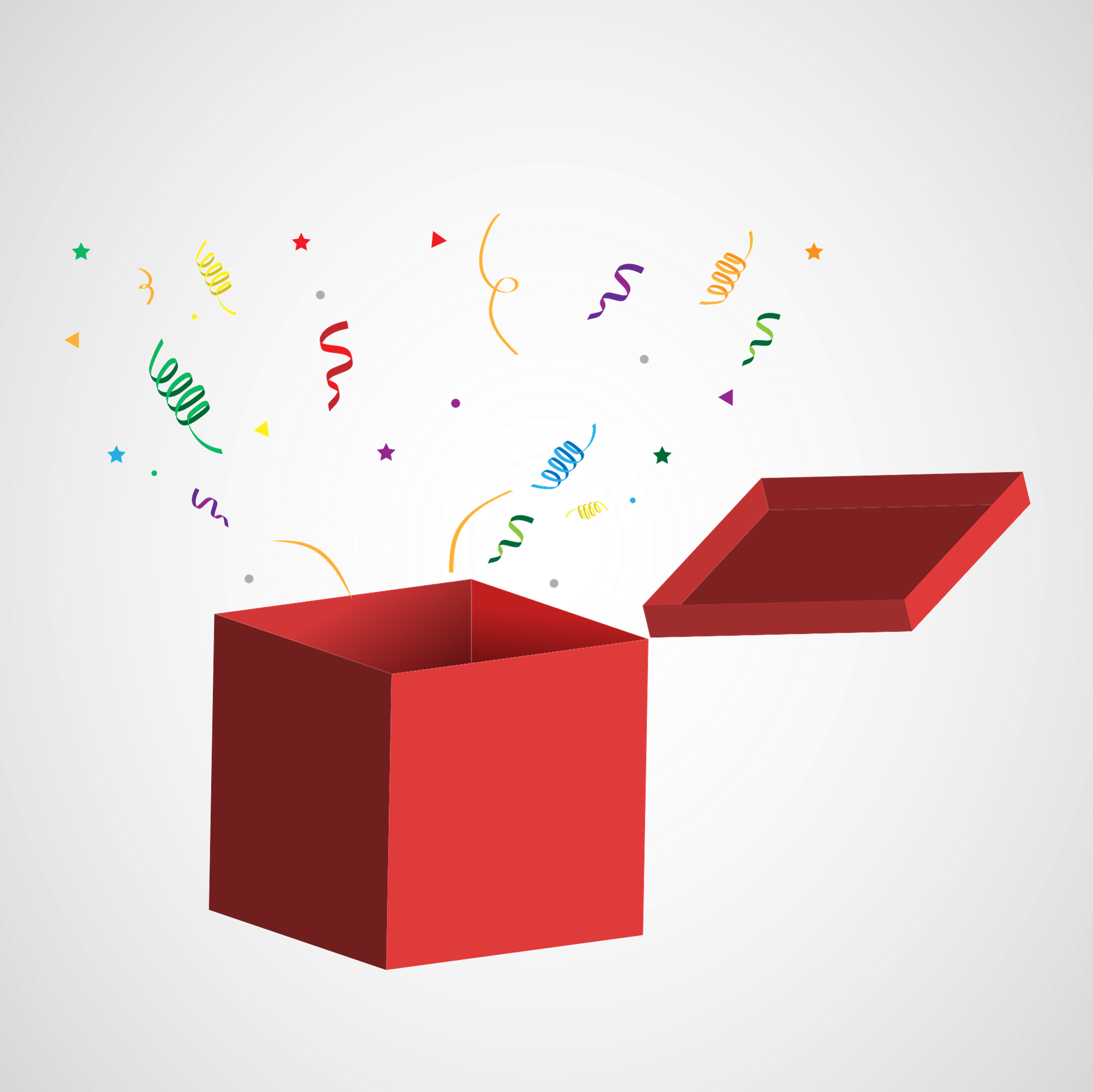 confetti flying out of a box