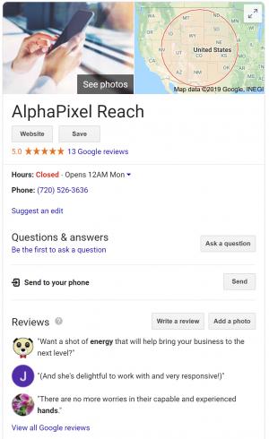Google My Business - AlphaPixel Reach's Google info